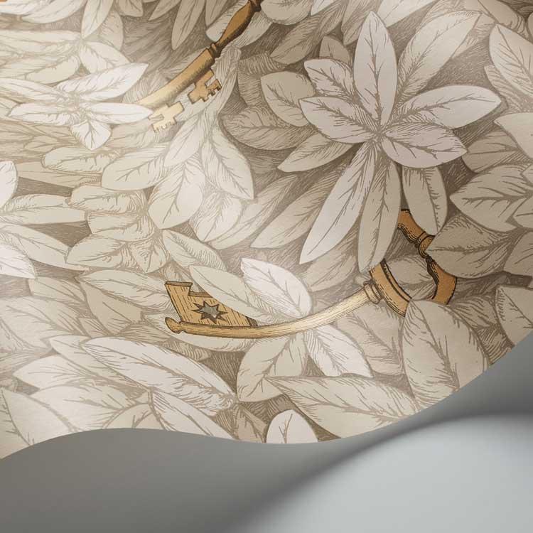 Chiavi Segrete Wallpaper - Stone / Gold - by Cole & Son