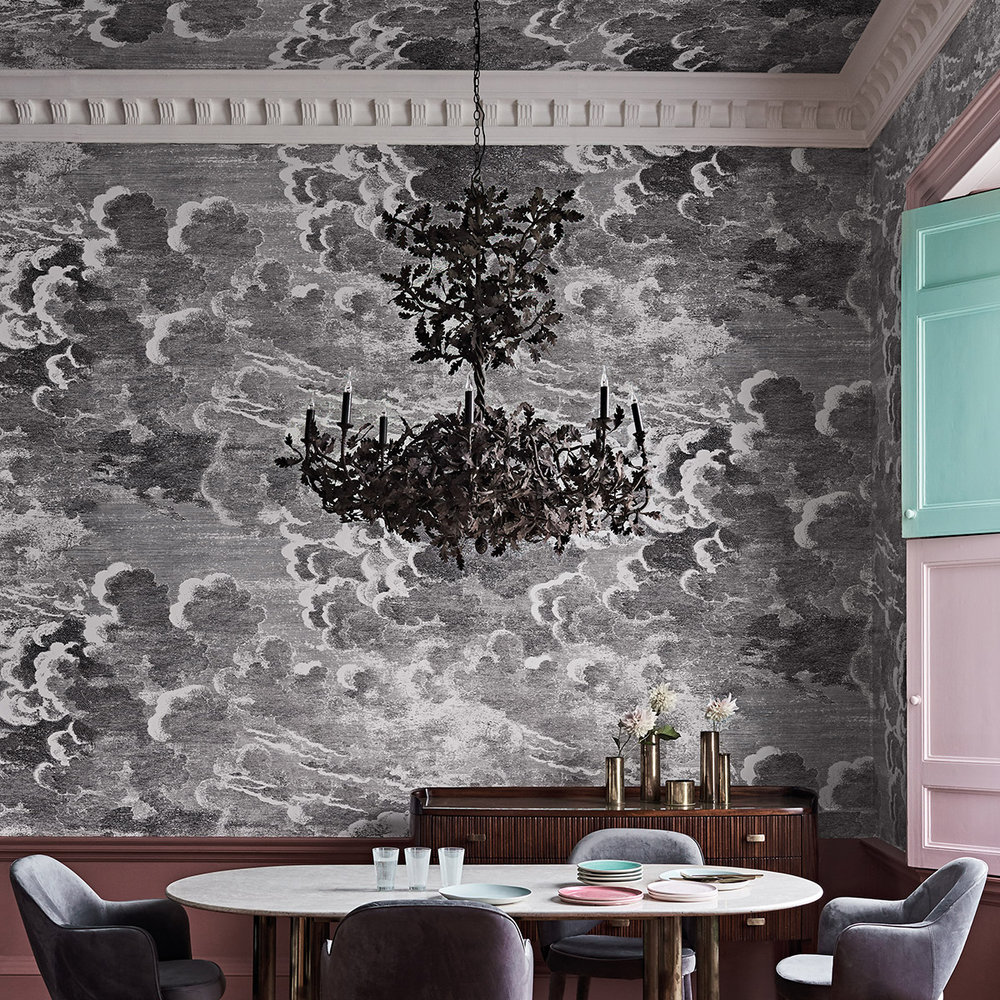 Cole & Son Nuvolette Black / White Wallpaper - Product code: 114/28054