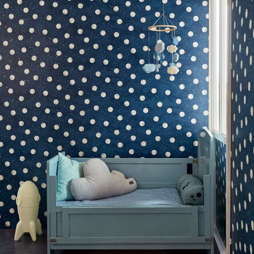 Eijffinger Over the Moon Midnight Blue Wallpaper - Product code: 399032