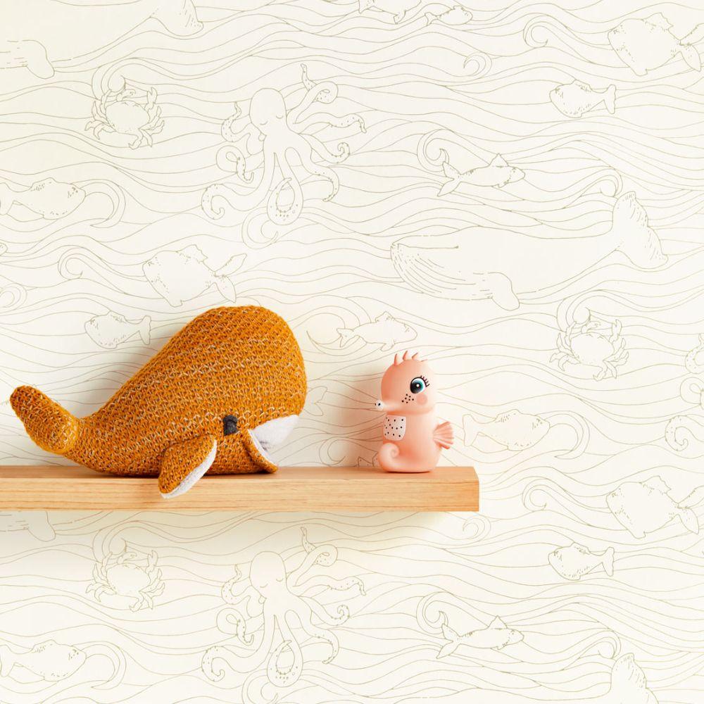 Eijffinger Plenty Fish White / Sand Wallpaper - Product code: 399040