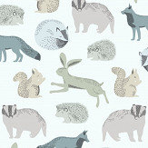 Eijffinger Forest Animals Blue / Green Wallpaper - Product code: 399051