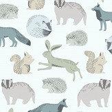 Eijffinger Forest Animals Blue / Green Wallpaper - Product code: 399051