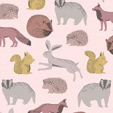 Eijffinger Forest Animals Pink / Yellow Wallpaper - Product code: 399052