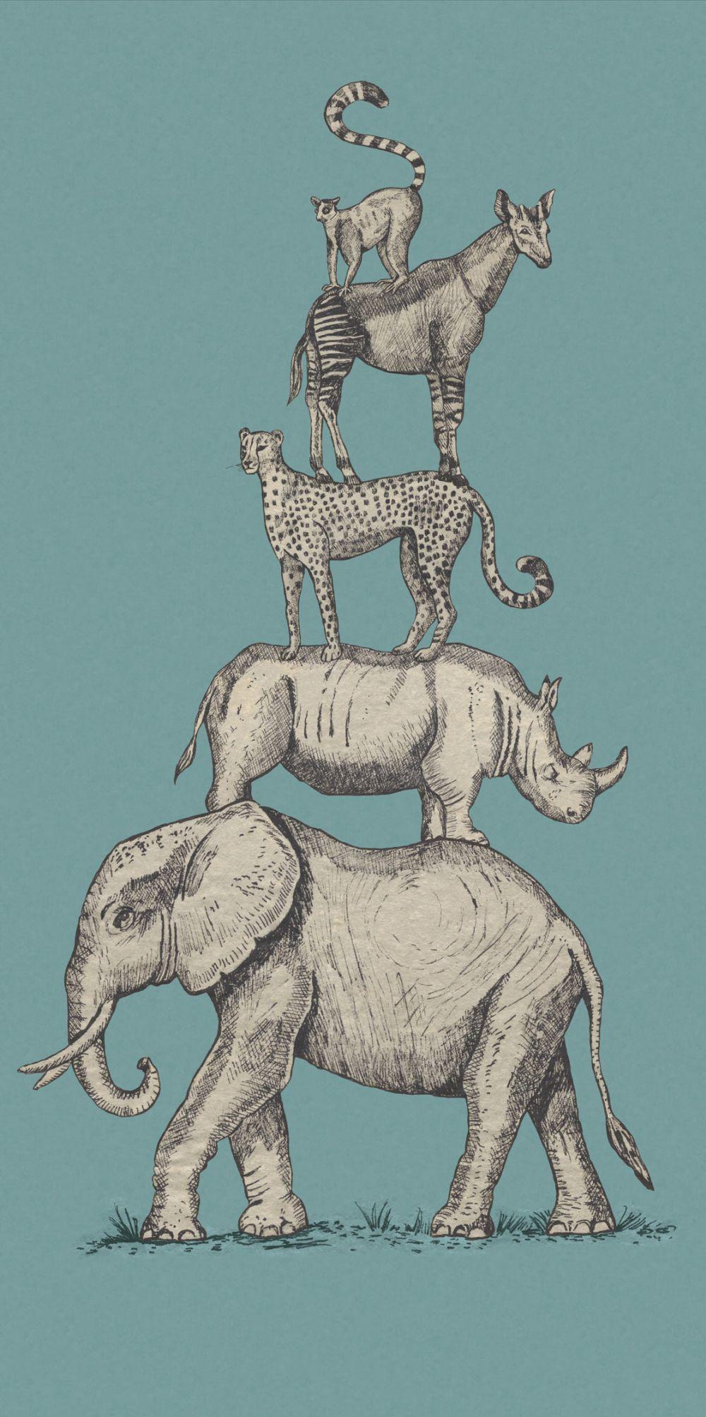 Safari Stack Mural - Blue - by Eijffinger