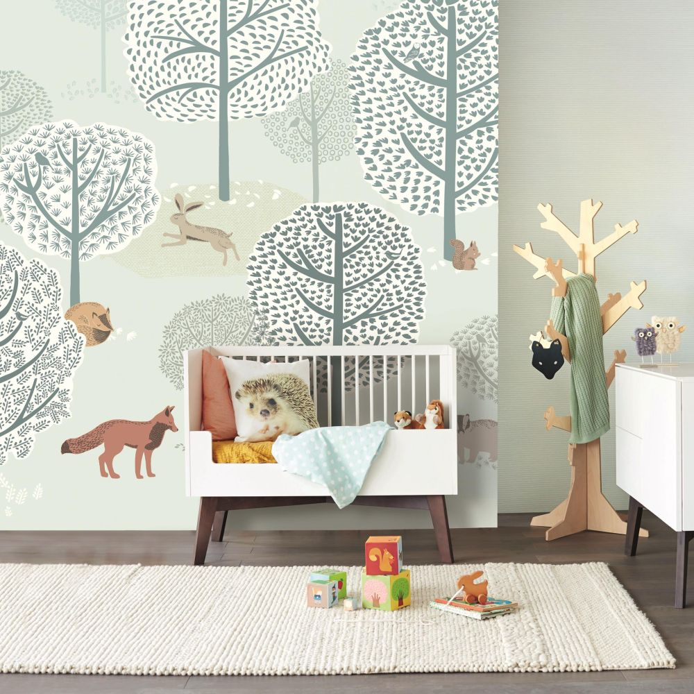 Eijffinger Forest Animals Blue / Green Mural - Product code: 399116