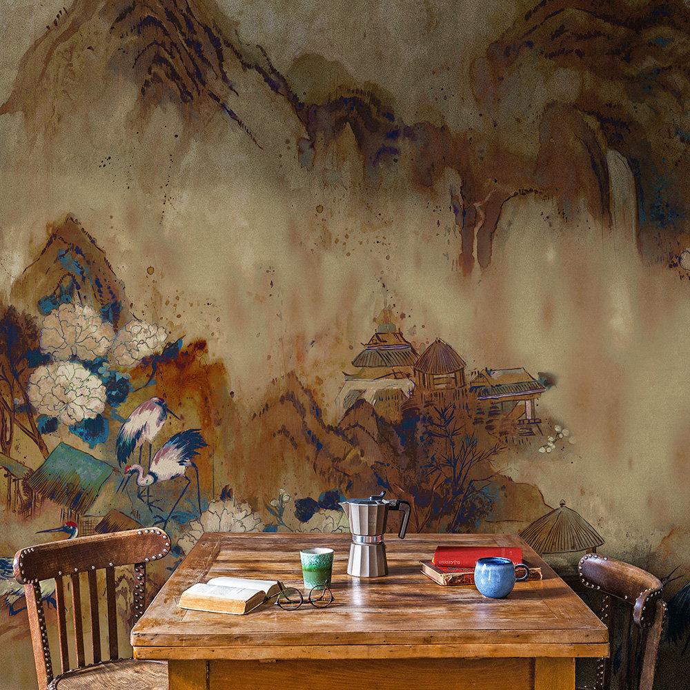 Kasgar Mural - Blue Spirulina - by Coordonne