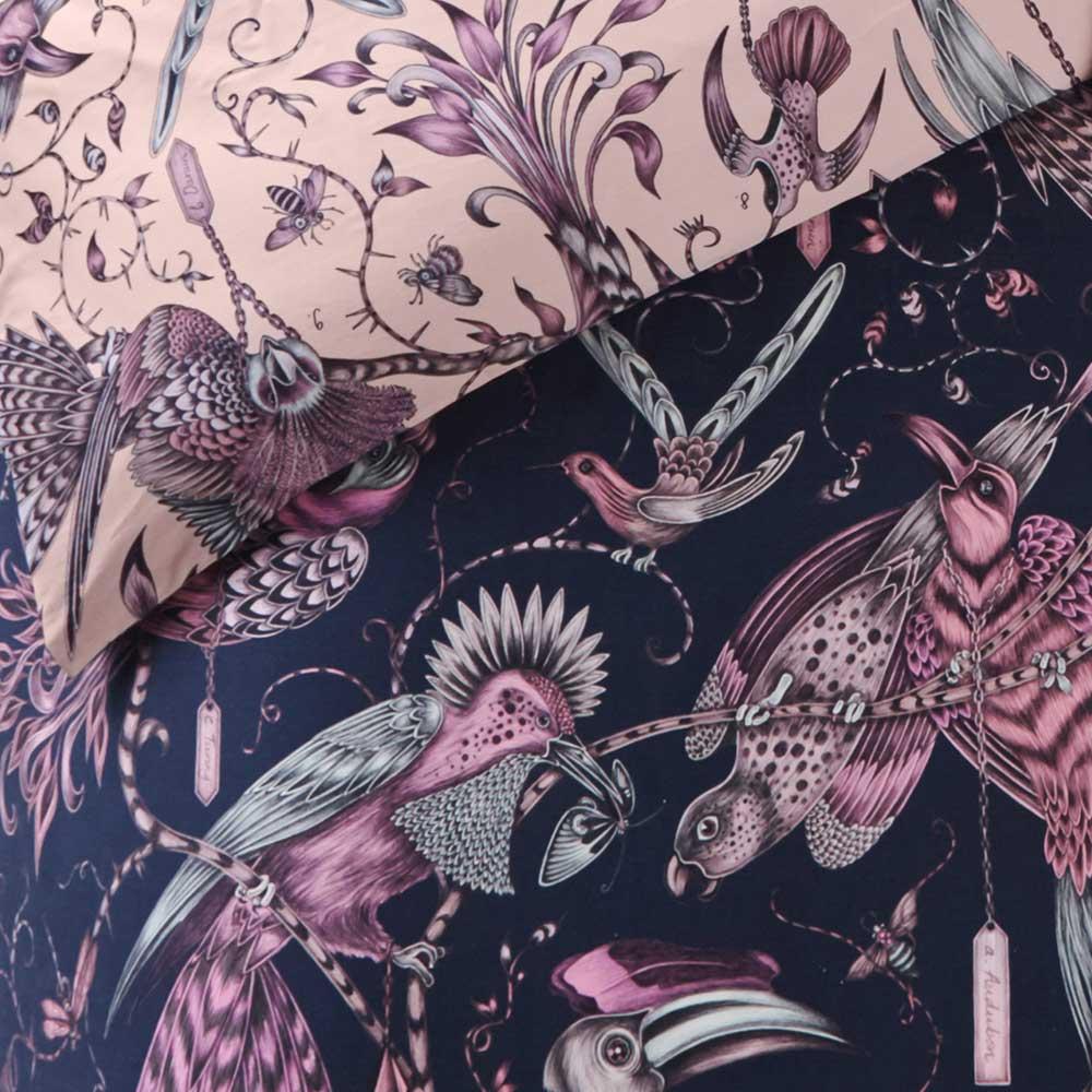 Audubon Duvet Cover - Navy/ Pink - by Emma J Shipley