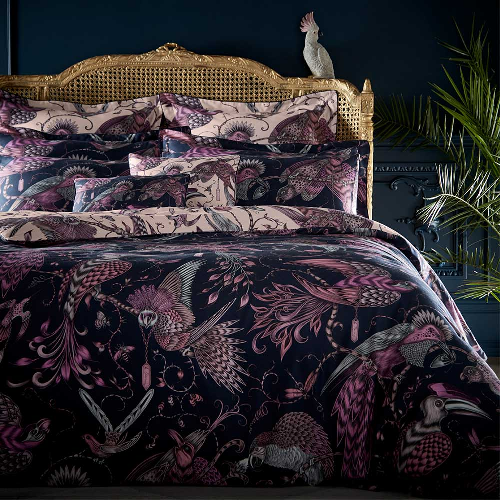 Emma J Shipley Audubon Standard Pillowcase Pair Navy/ Pink - Product code: M2053/01