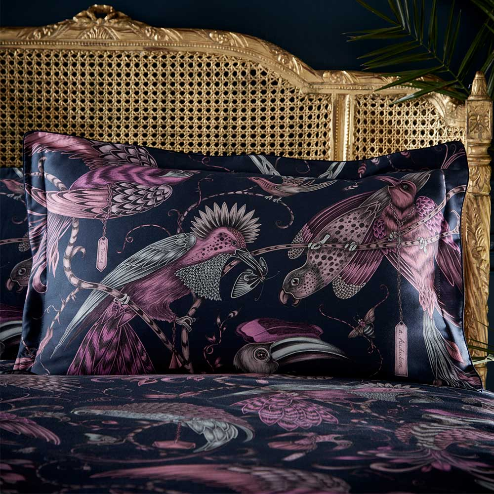 Emma J Shipley Audubon Oxford Pillowcase Navy/ Pink - Product code: M2061/01