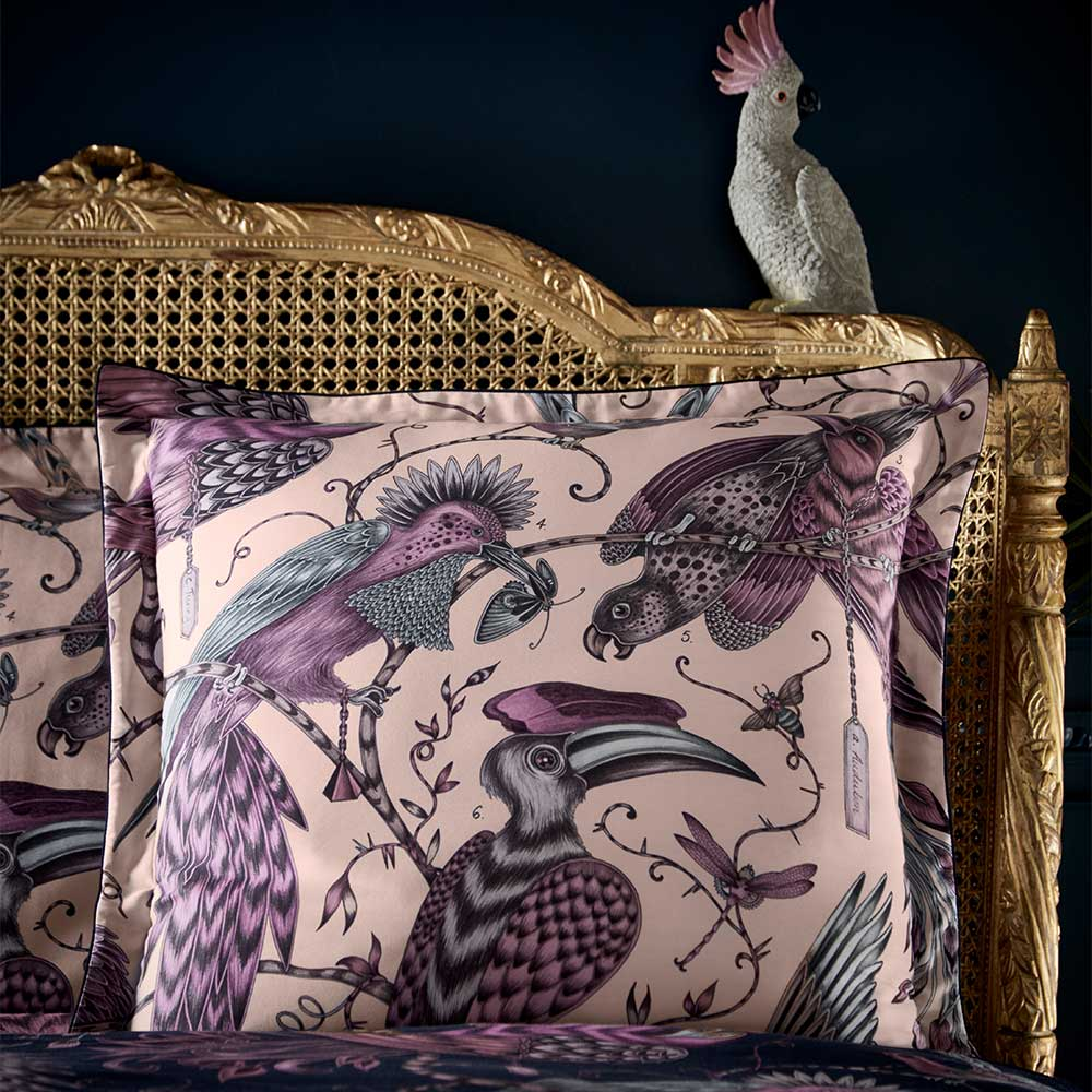Emma J Shipley Audubon Square Oxford Pillowcase  Navy/ Pink - Product code: M2062/01