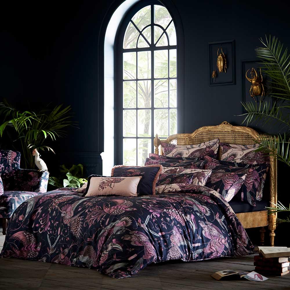 Clarke & Clarke Audubon Boudoir Pillowcase  Navy - Product code: M2060/01