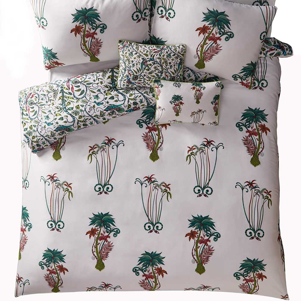 Jungle Palms Duvet Cover - Green/ Pink - by Emma J Shipley