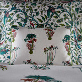 Clarke & Clarke Jungle Palms Boudoir Pillowcase  Green/ Pink - Product code: M2066/01