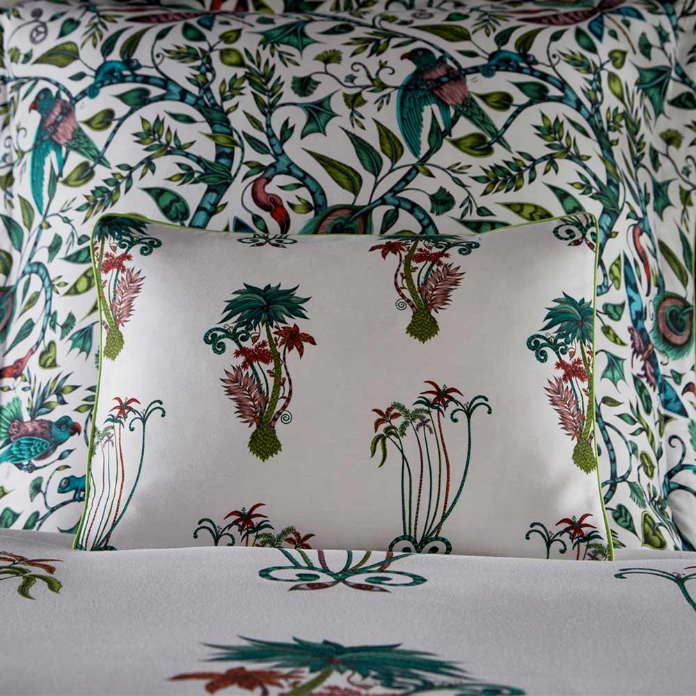 Emma J Shipley Jungle Palms Boudoir Pillowcase  Green/ Pink - Product code: M2066/01