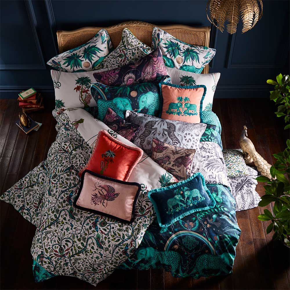 Zambezi Square Oxford Pillowcase  - Teal/ Navy - by Emma J Shipley
