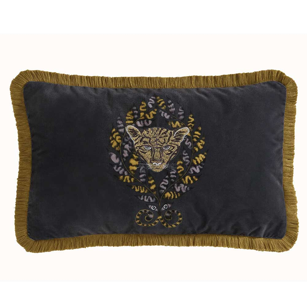 Amazon Rectangular Cushion - Charcoal - by Emma J Shipley