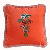 Clarke & Clarke Jungle Palms Square Cushion Coral - Product code: M2050/01