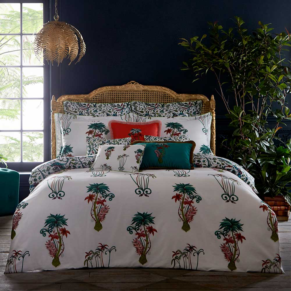 Jungle Palms Square Cushion - Coral - by Emma J Shipley