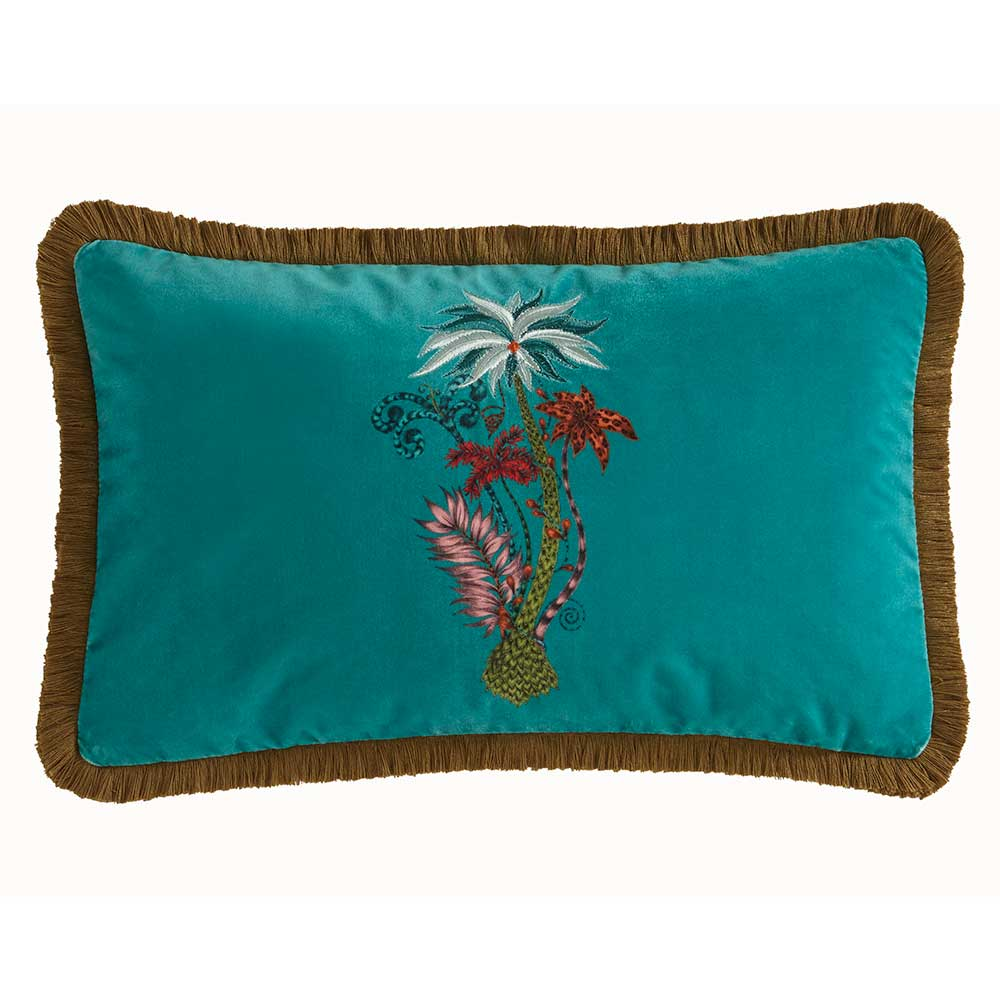 Clarke & Clarke Jungle Palms Rectangular Cushion Teal - Product code: M2050/02