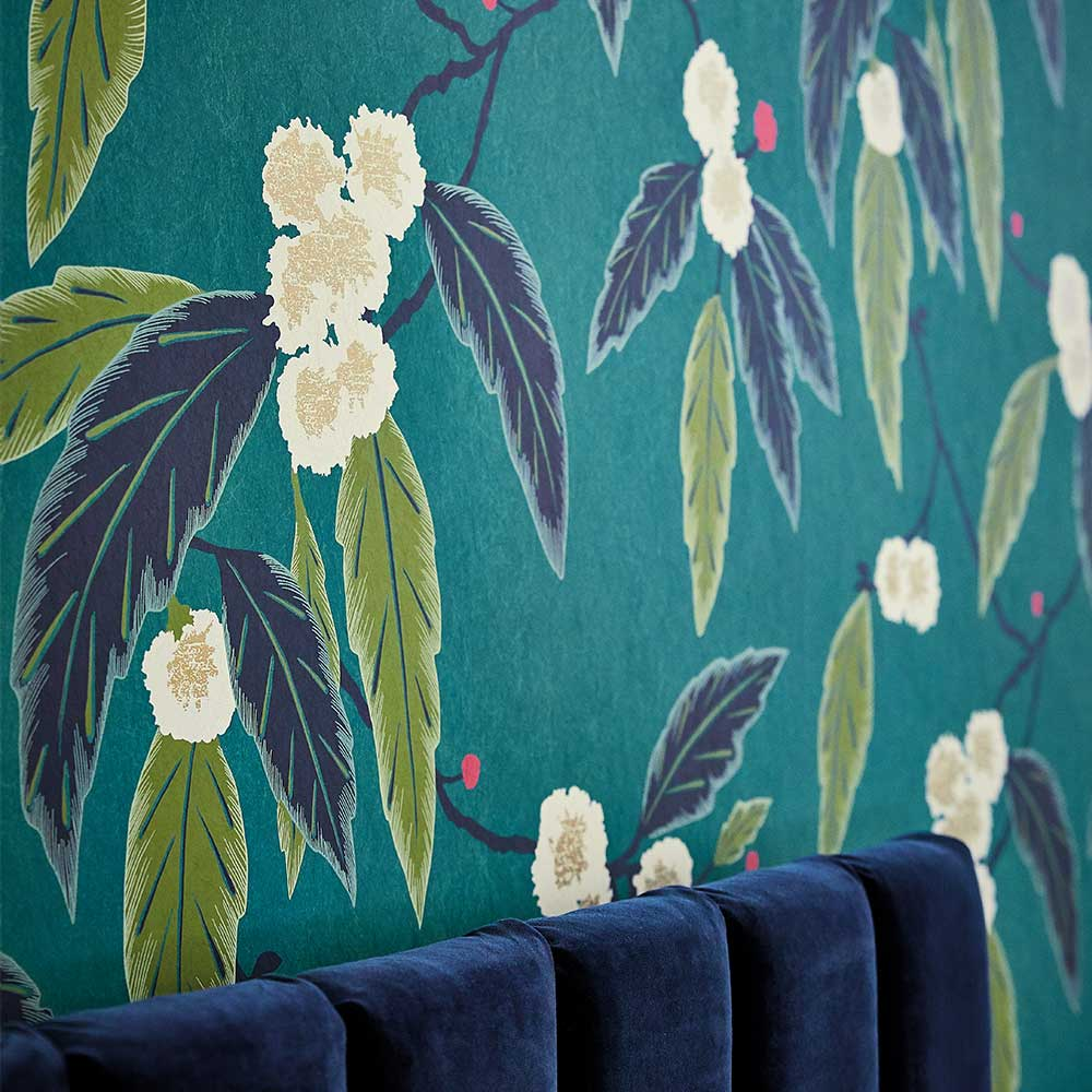 Coppice Wallpaper - Peacock/ Azalea/ Midnight - by Harlequin