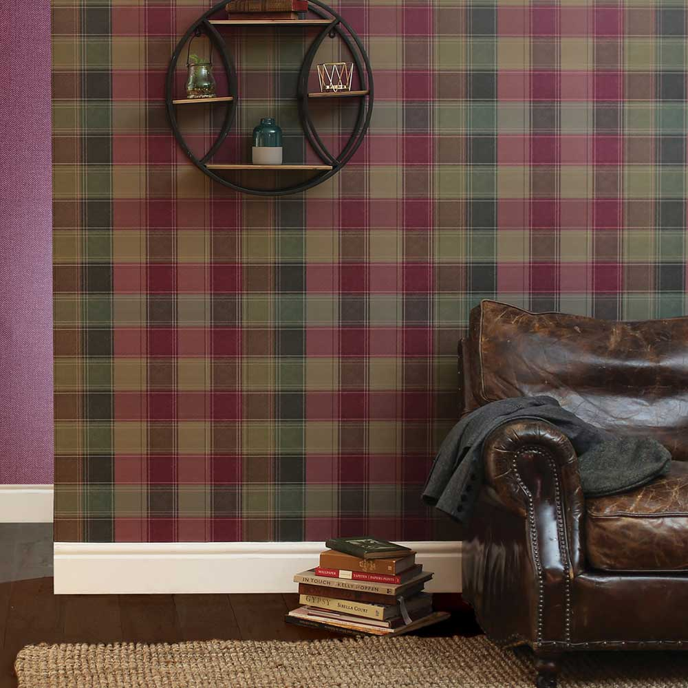 Urban Check Wallpaper - Plum - by Arthouse