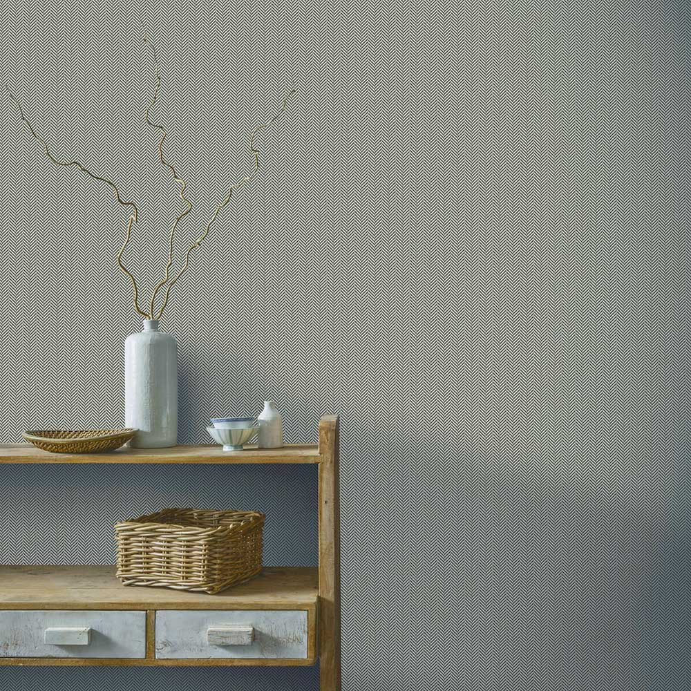 Herringbone Wallpaper - Charcoal - by Arthouse