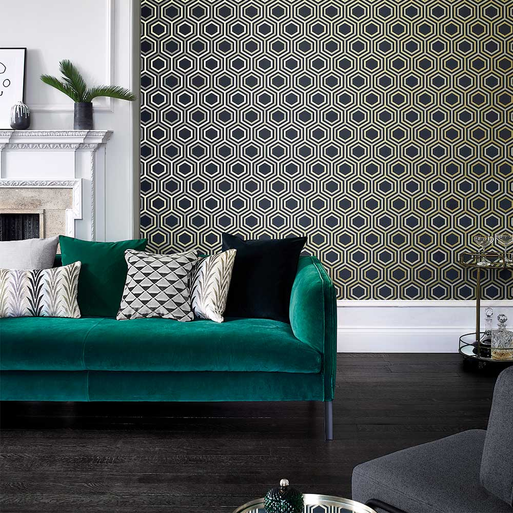 Selo Wallpaper - Ebony and Gold - by Harlequin