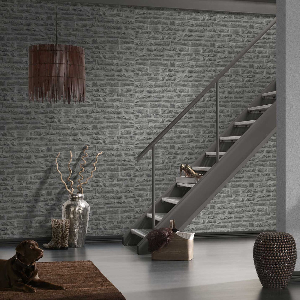 Albany Faded Brick Grey Wallpaper - Product code: 31944-2