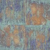 Albany Metal Wall Blue / Copper Wallpaper - Product code: 36118-1