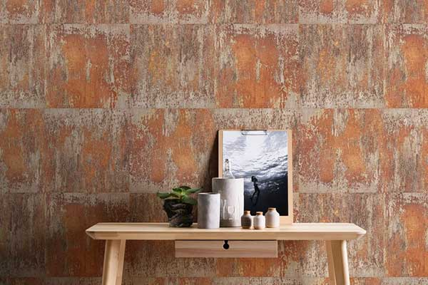Albany Metal Wall Copper Wallpaper - Product code: 36118-2