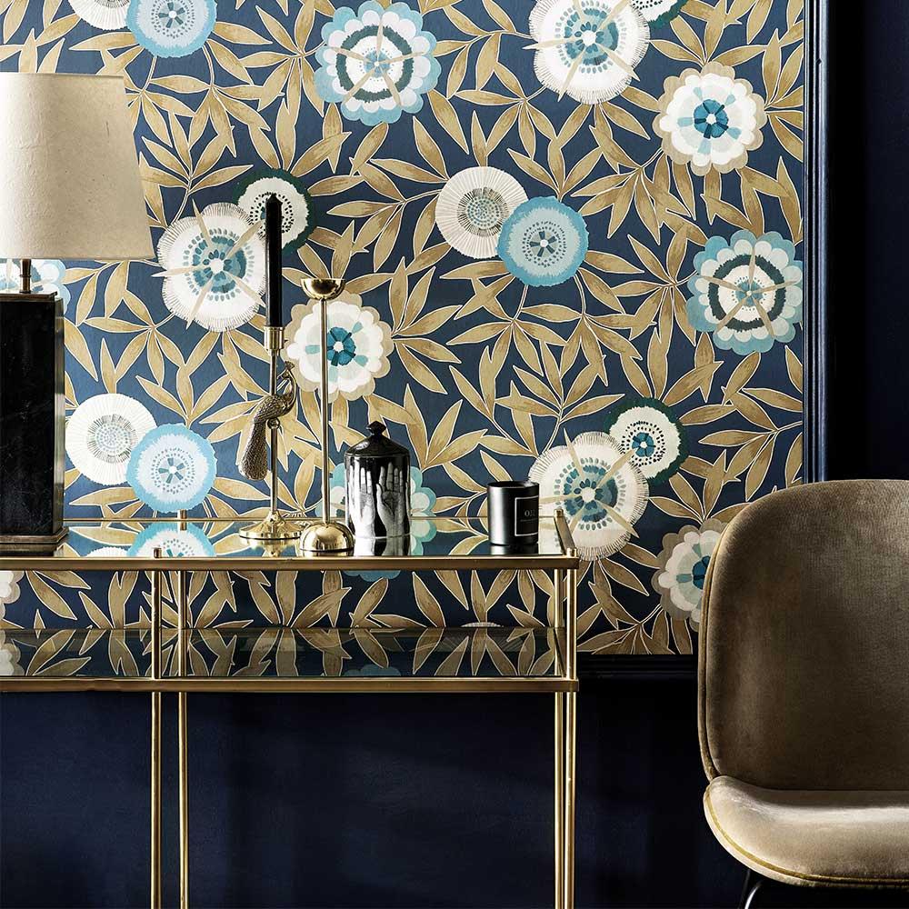 Komovi Wallpaper - Midnight/ Gold - by Harlequin