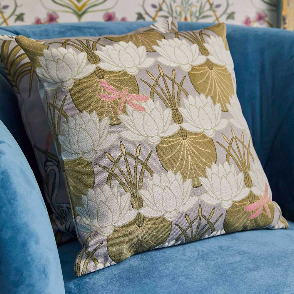 The Chateau Deco Lilypad Cushion - Moat Grey - by The Chateau by Angel Strawbridge