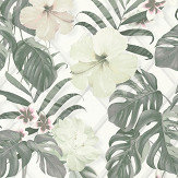 Albany Tropical Flower Grey / Green Wallpaper - Product code: 36518-2