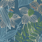 Albany Exotic Leaves Peacock Blue Wallpaper - Product code: 36630-1