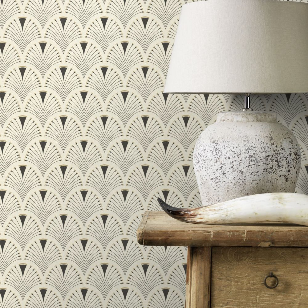 Deco Arch Wallpaper - Linen - by Albany