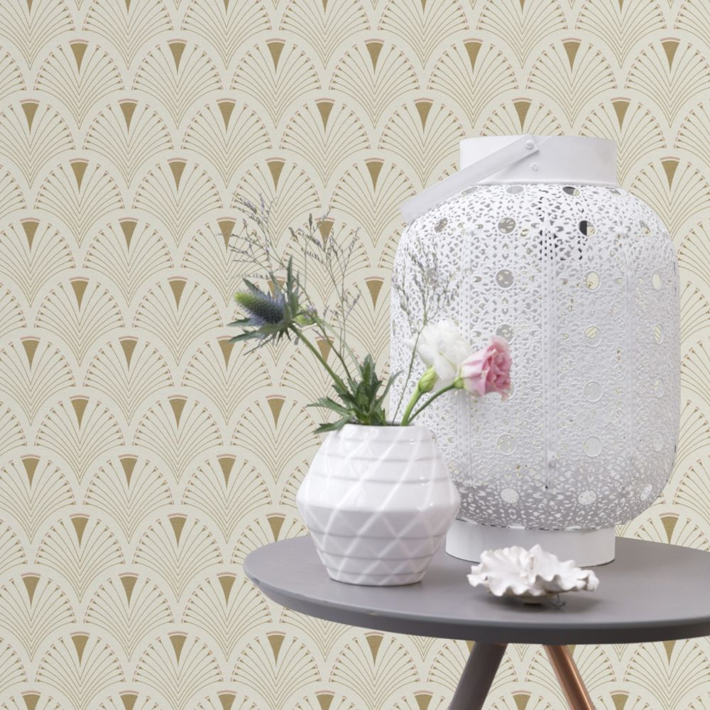 Deco Arch Wallpaper - Ivory - by Albany
