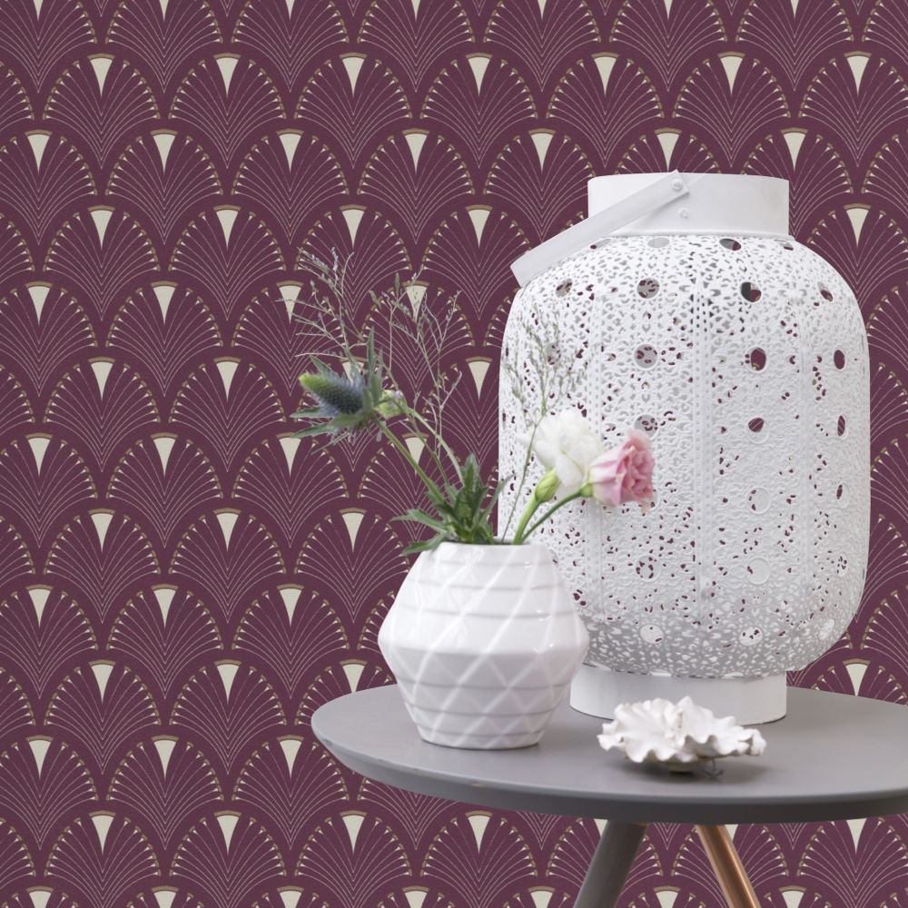 Deco Arch Wallpaper - Mauve - by Albany