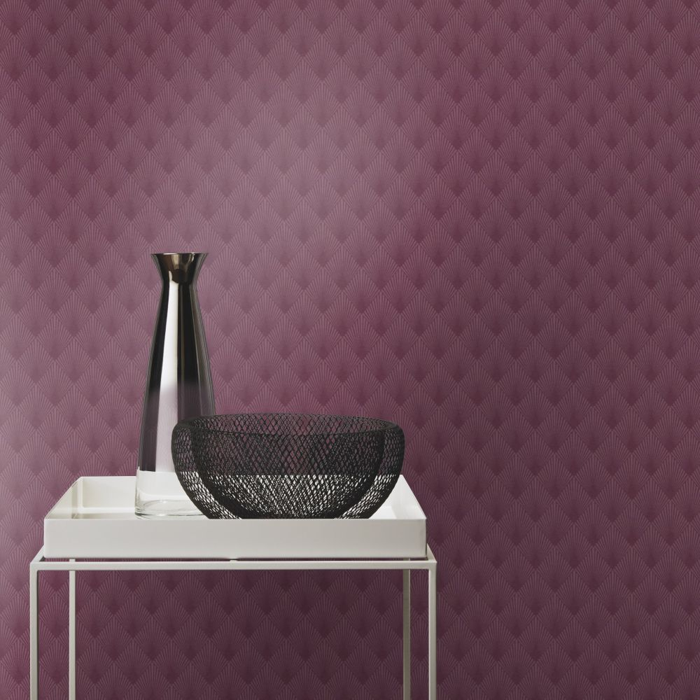 Deco Sun Wallpaper - Mauve - by Albany