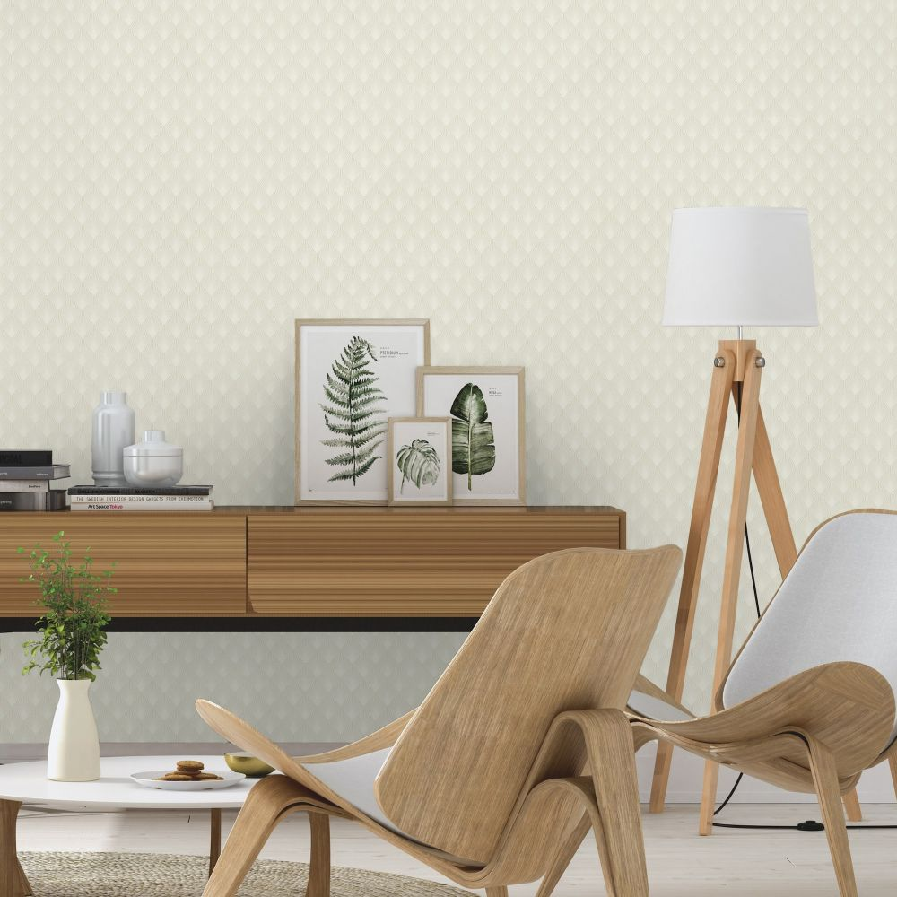 Deco Sun Wallpaper - Ivory - by Albany