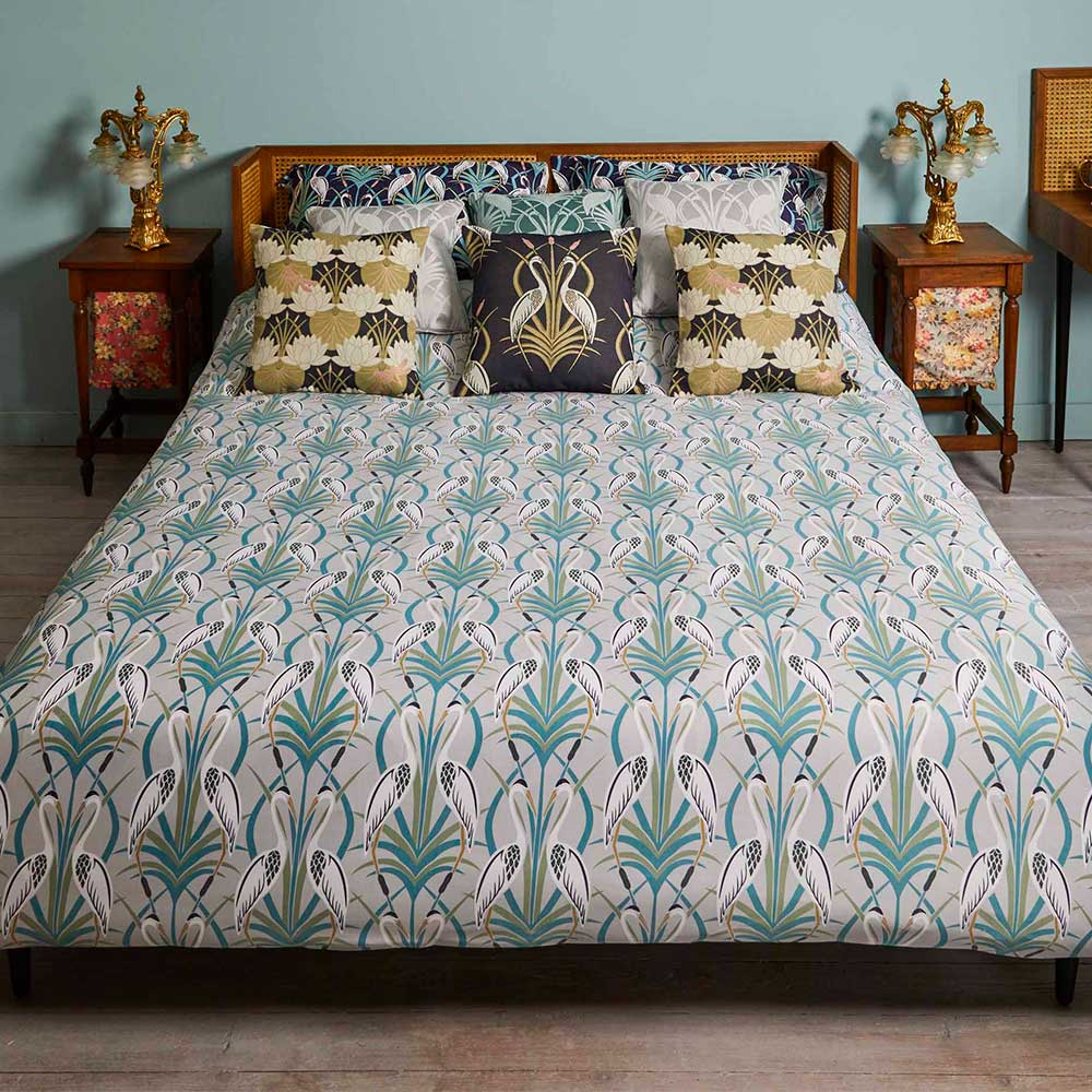 The Chateau by Angel Strawbridge The Chateau Heron Reversible Duvet Set Grey/ Navy Duvet Cover - Product code: DEC/NGR/SIN/BS