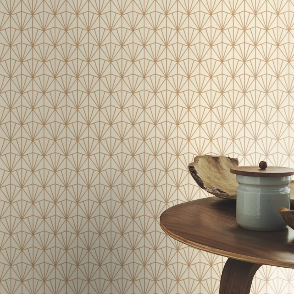 Deco Diamond Wallpaper - Cotton - by Albany
