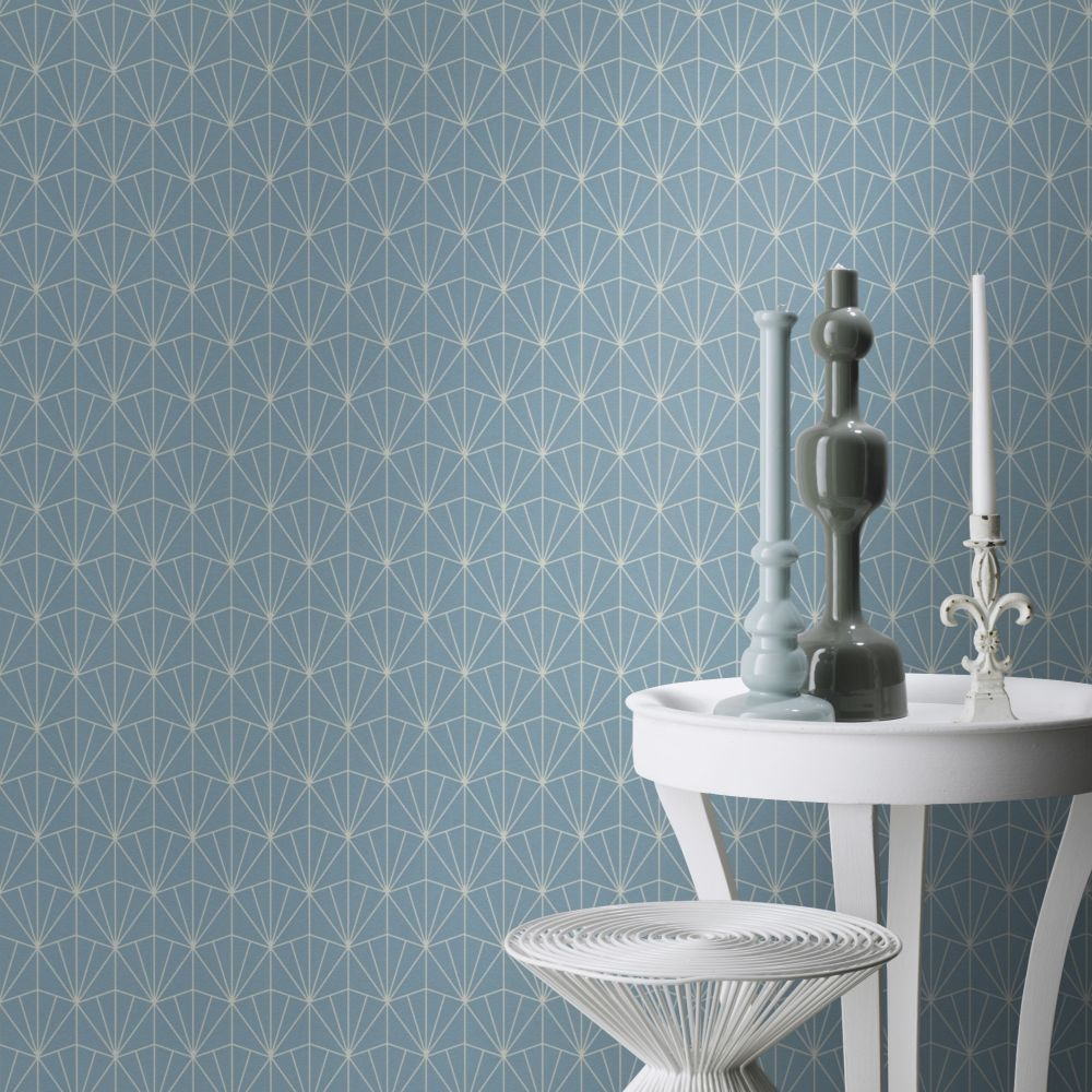 Deco Diamond Wallpaper - Light Blue - by Albany