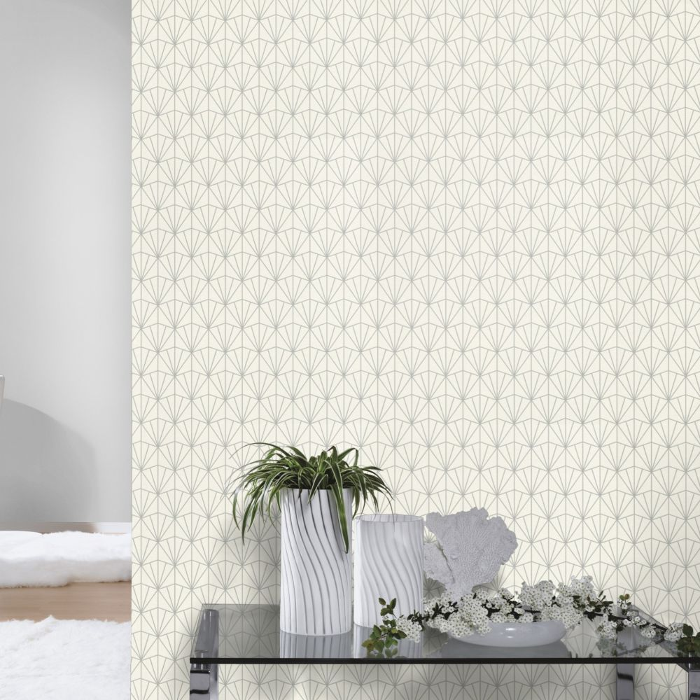 Deco Diamond Wallpaper - Ivory - by Albany