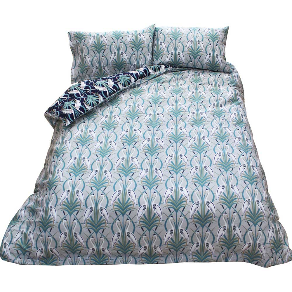 The Chateau by Angel Strawbridge The Chateau Heron Reversible Duvet Set Grey/ Navy Duvet Cover - Product code: DEC/NGR/DOUBS