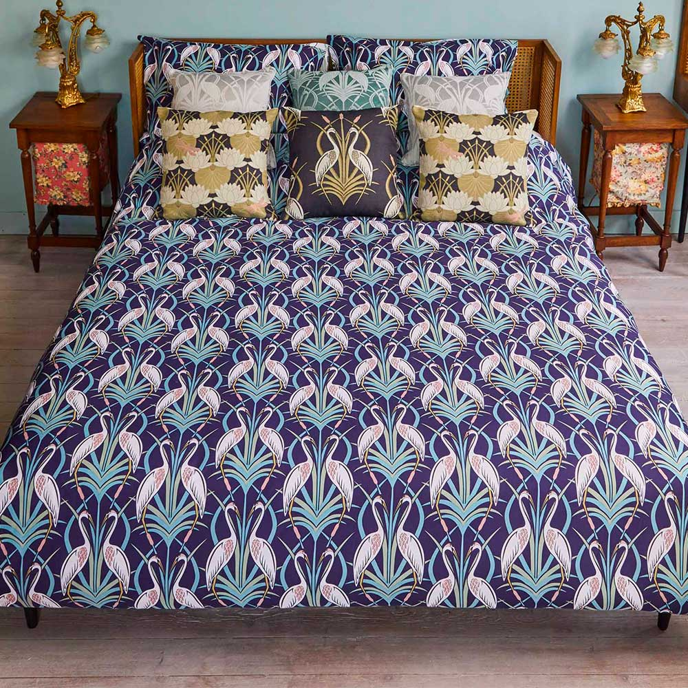The Chateau by Angel Strawbridge The Chateau Heron Reversible Duvet Set Grey/ Navy Duvet Cover - Product code: DEC/NGR/SUPBS
