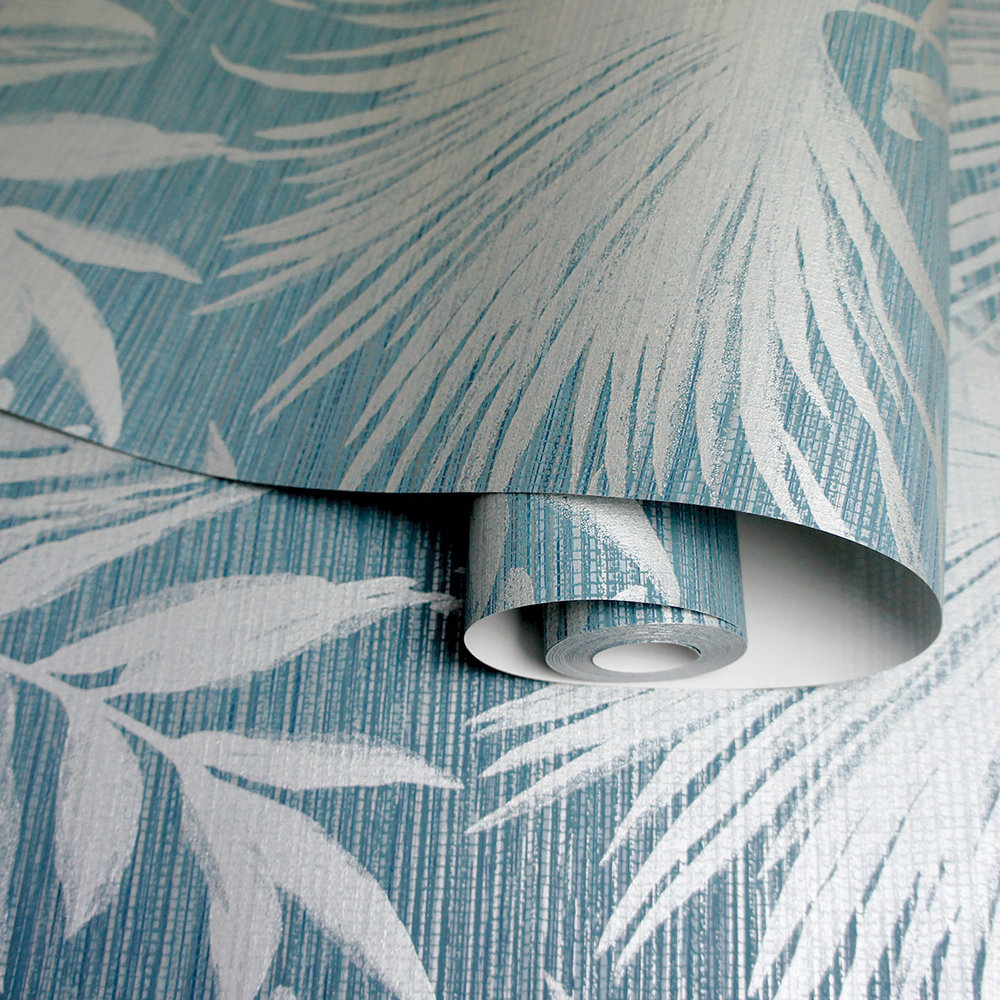 Bambara Leaf Wallpaper - Bambara Leaf Teal - by Albany