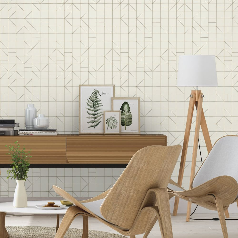 Tile Deco Wallpaper - Ivory - by Albany