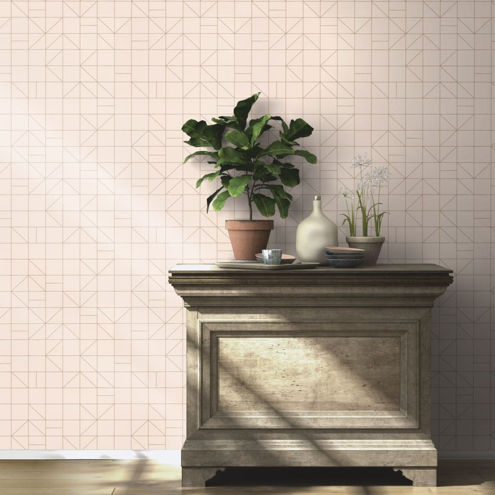 Tile Deco Wallpaper - Rose - by Albany