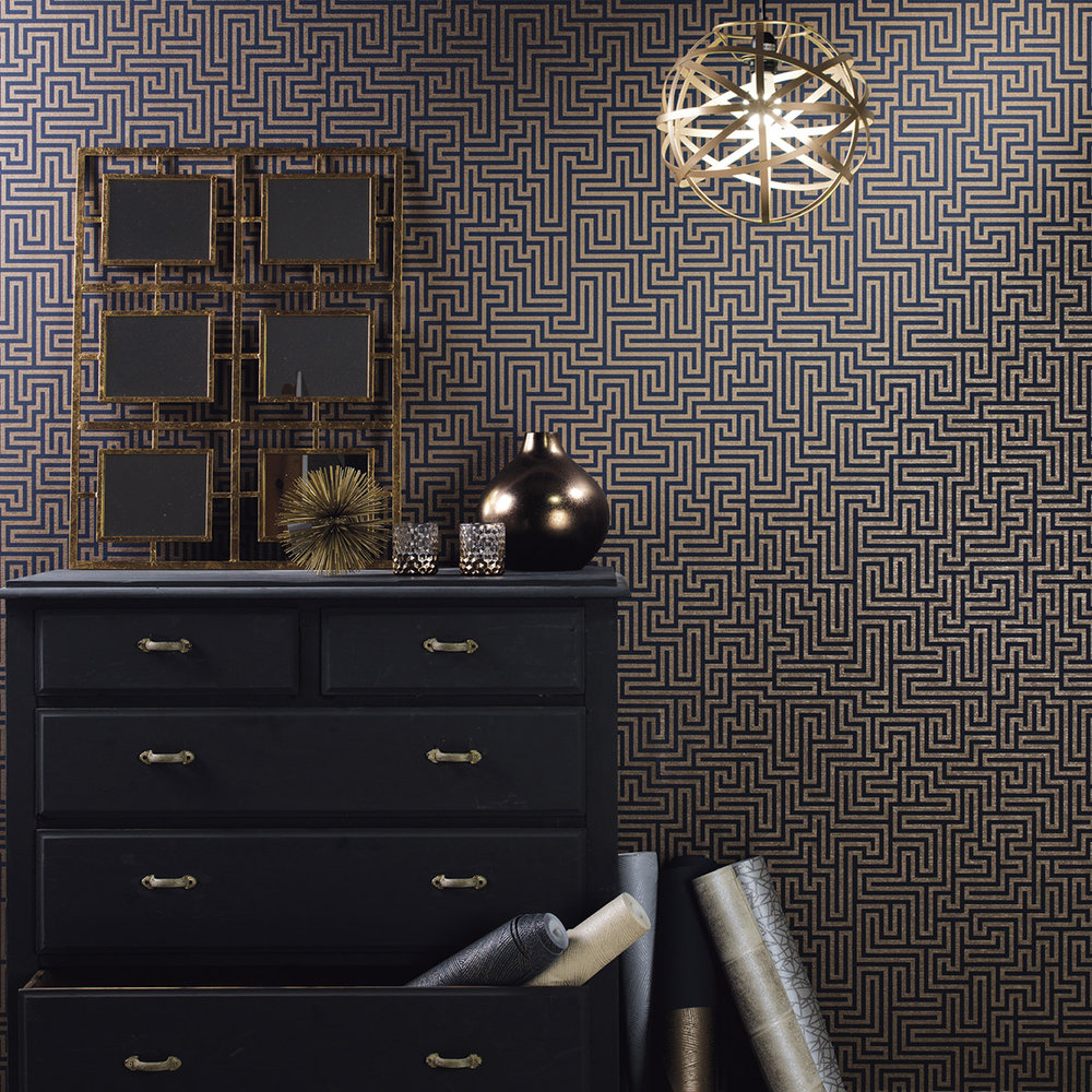 Labyrinth Wallpaper - Labyrinth Navy - by Albany