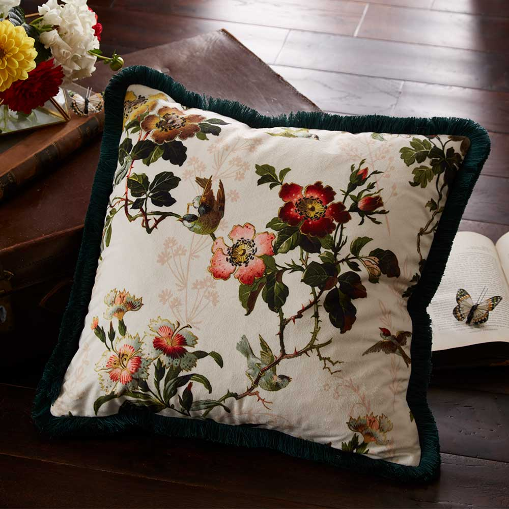 Oasis Leighton Velvet Cushion Ivory - Product code: M2046/01